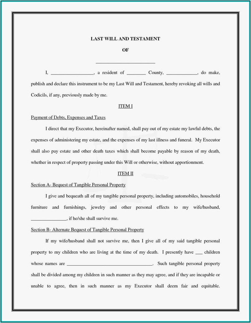 Free Last Will And Testament Template Microsoft Word