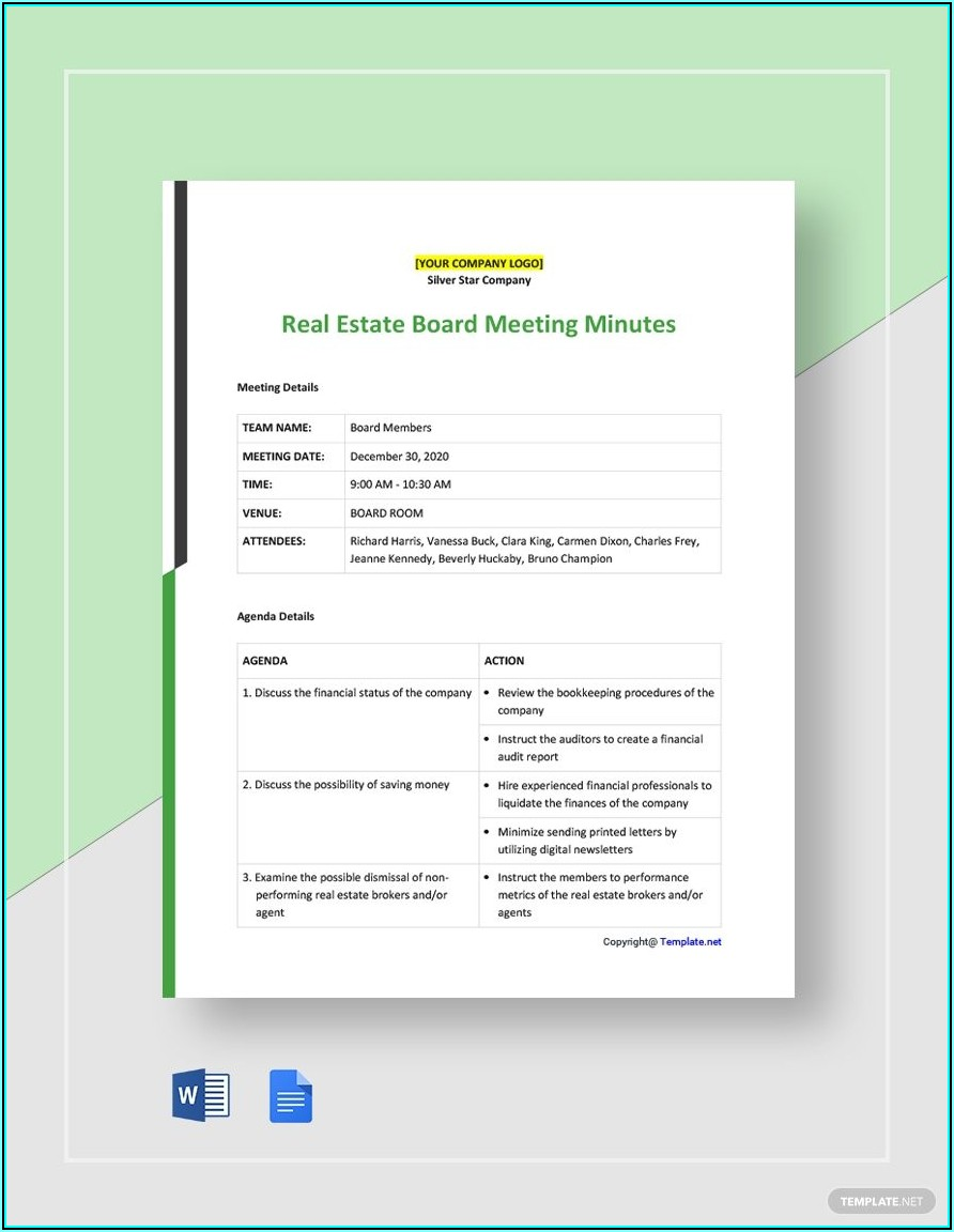 Free Meeting Minutes Template Google Docs
