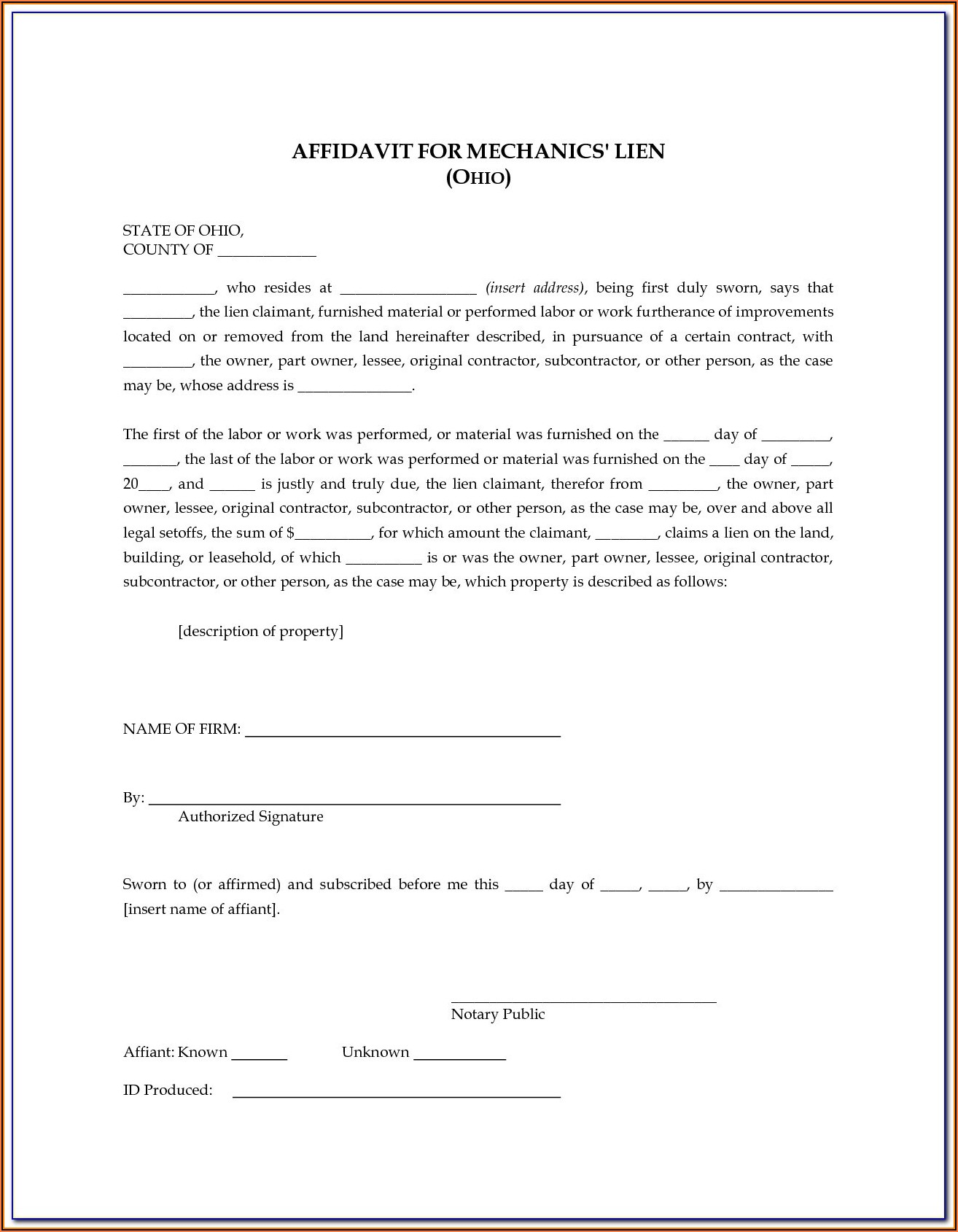 Free Ohio Mechanic Lien Form