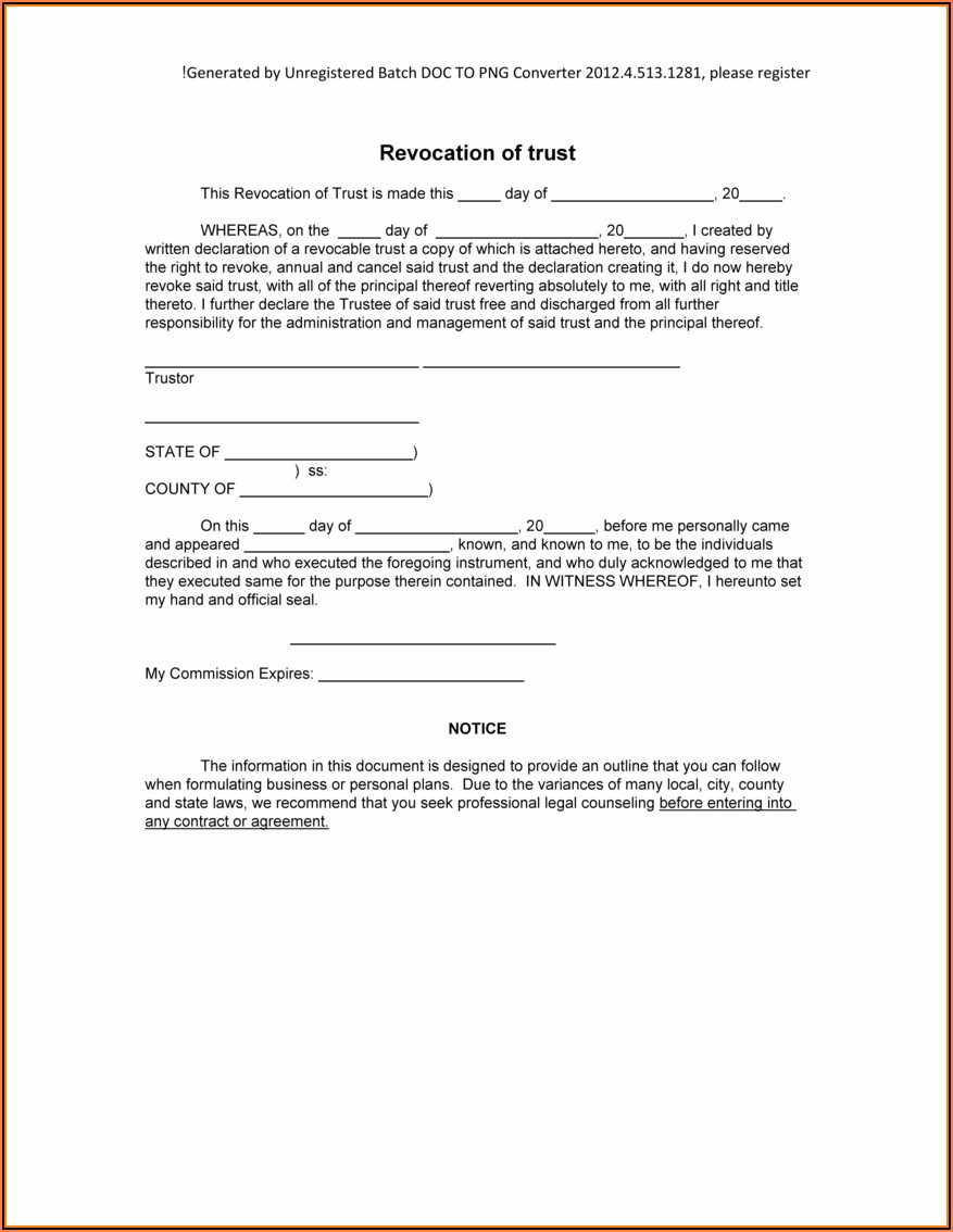 Free Online Revocable Living Trust Forms