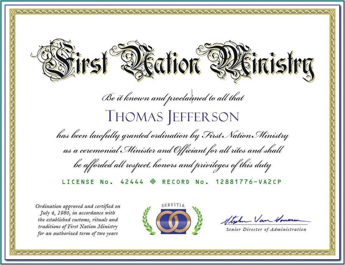 Free Ordination Certificate Template