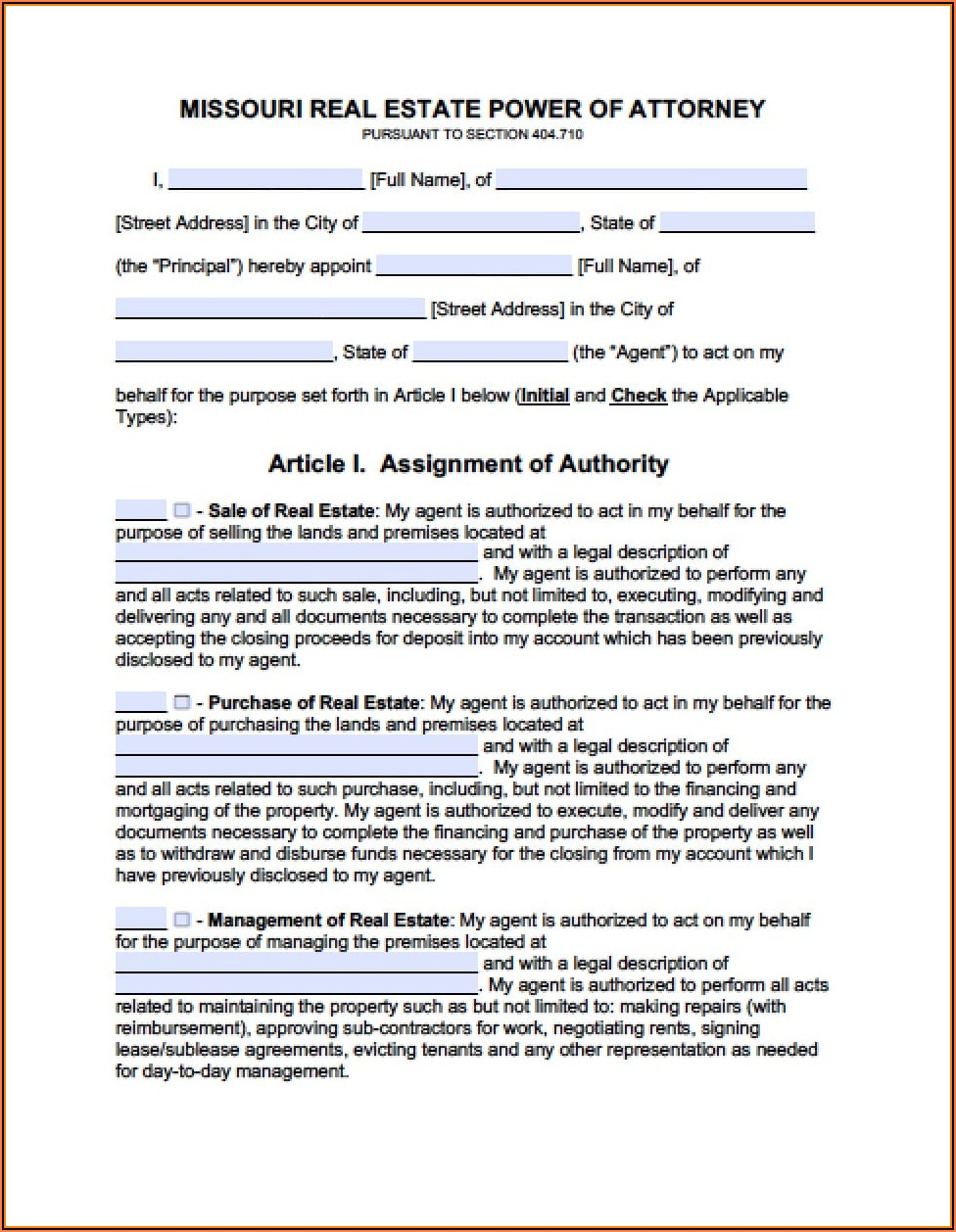 Free Printable Power Of Attorney Form Missouri