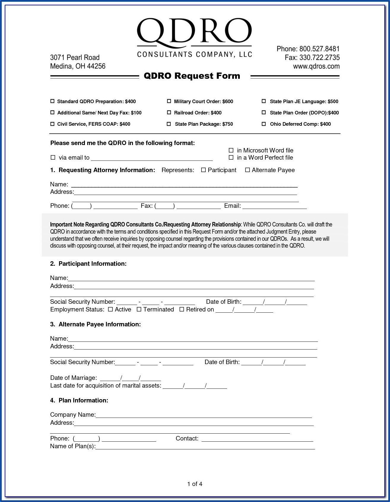 Free Qdro Form Download