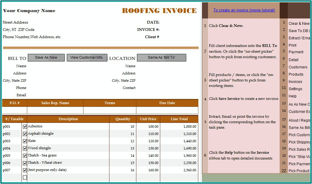Free Roofing Receipt Template