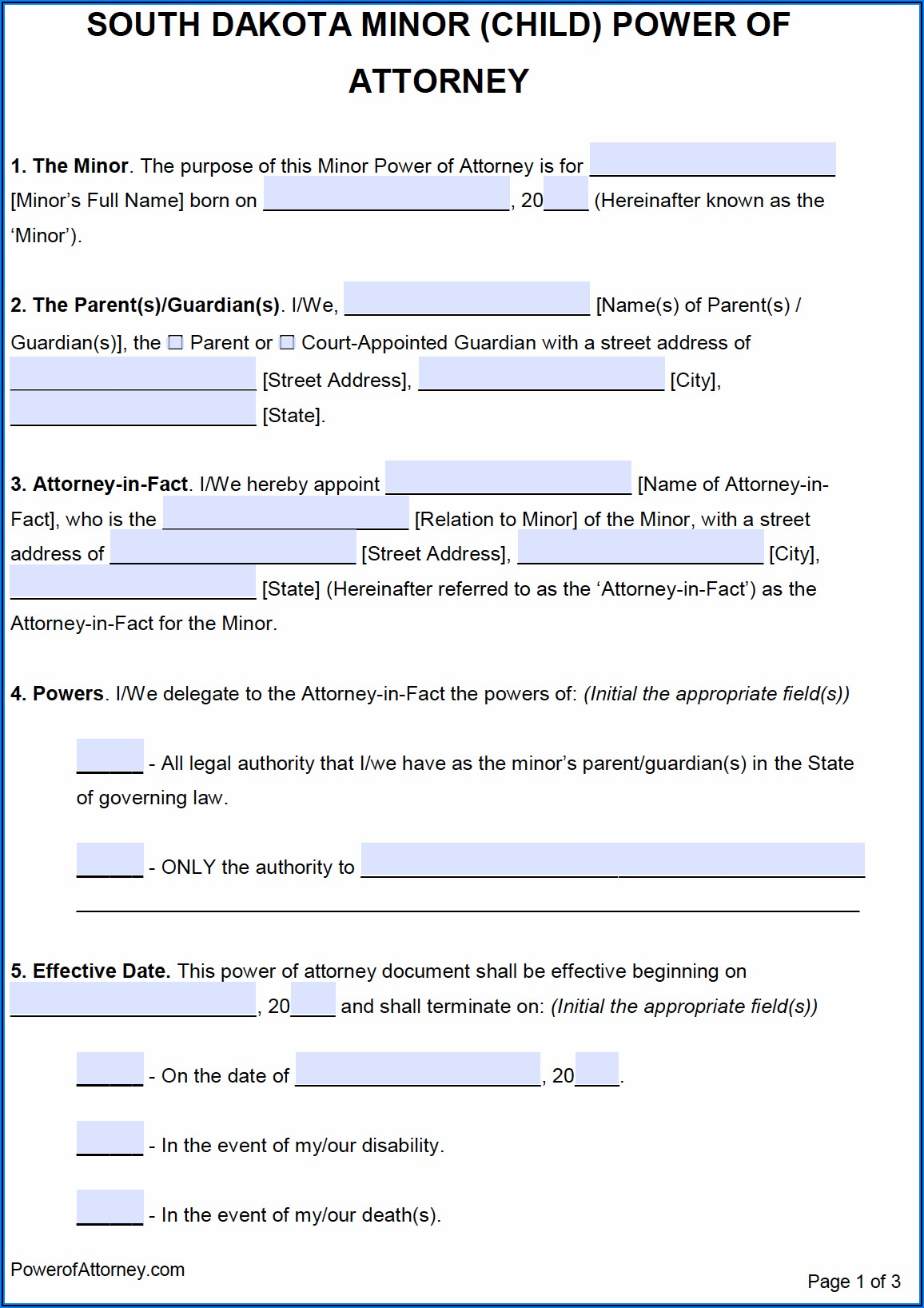 Free South Dakota Power Of Attorney Form