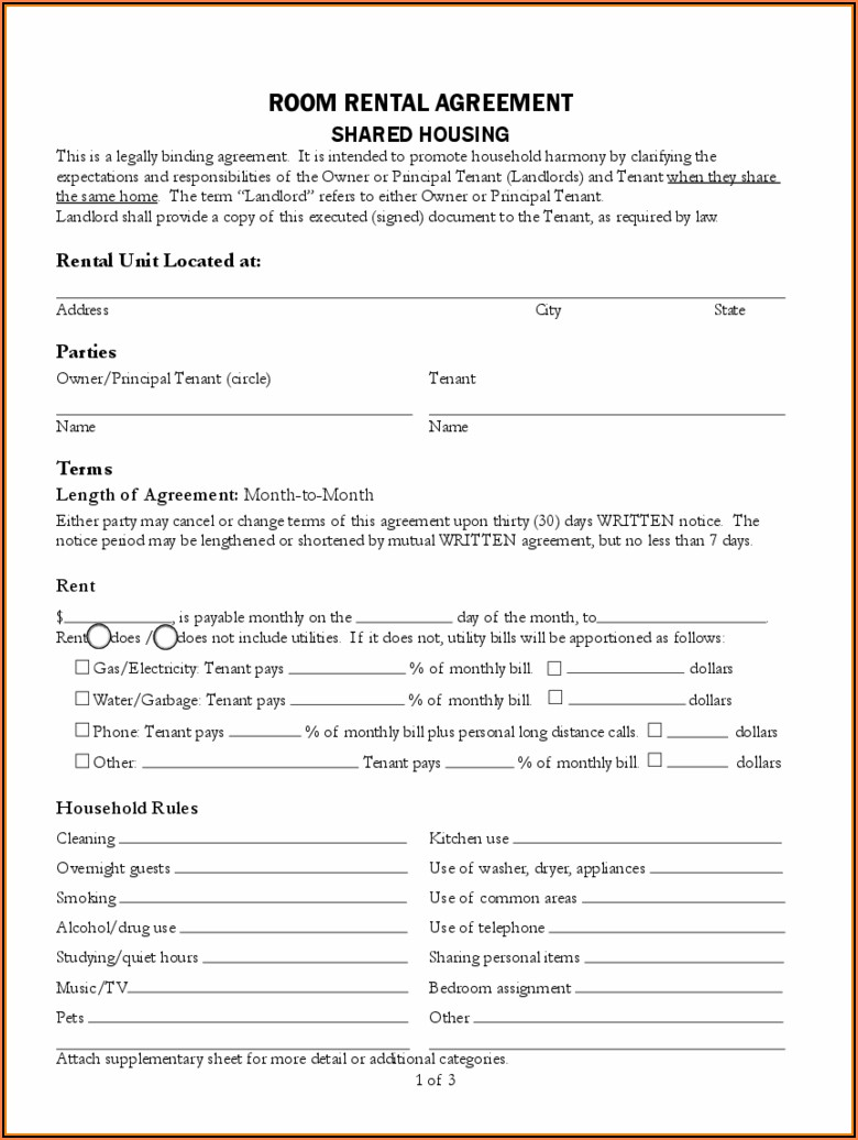 Free Tenancy Agreement Form Pdf
