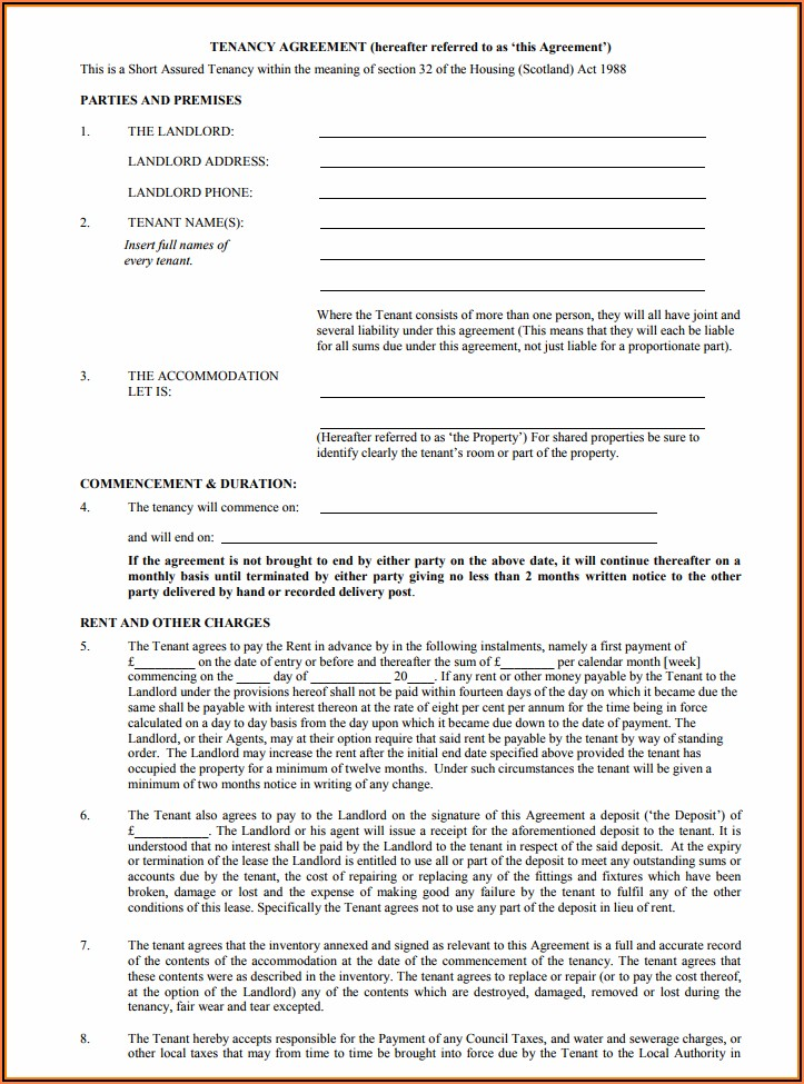 Free Tenancy Agreement Form Uk 2019