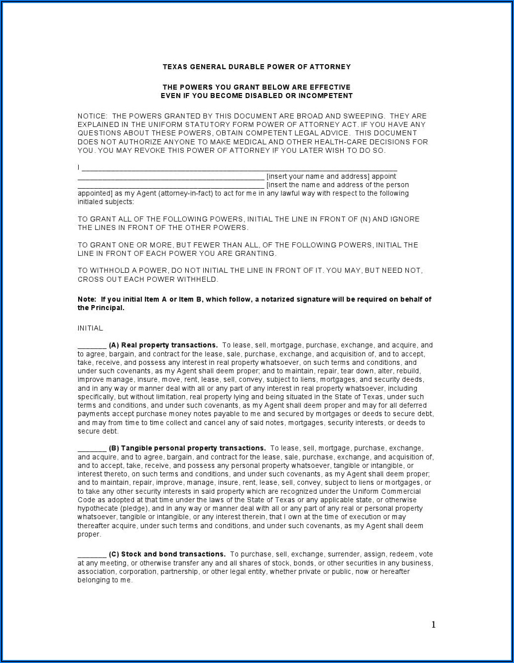 Free Texas Medical Power Of Attorney Forms To Print