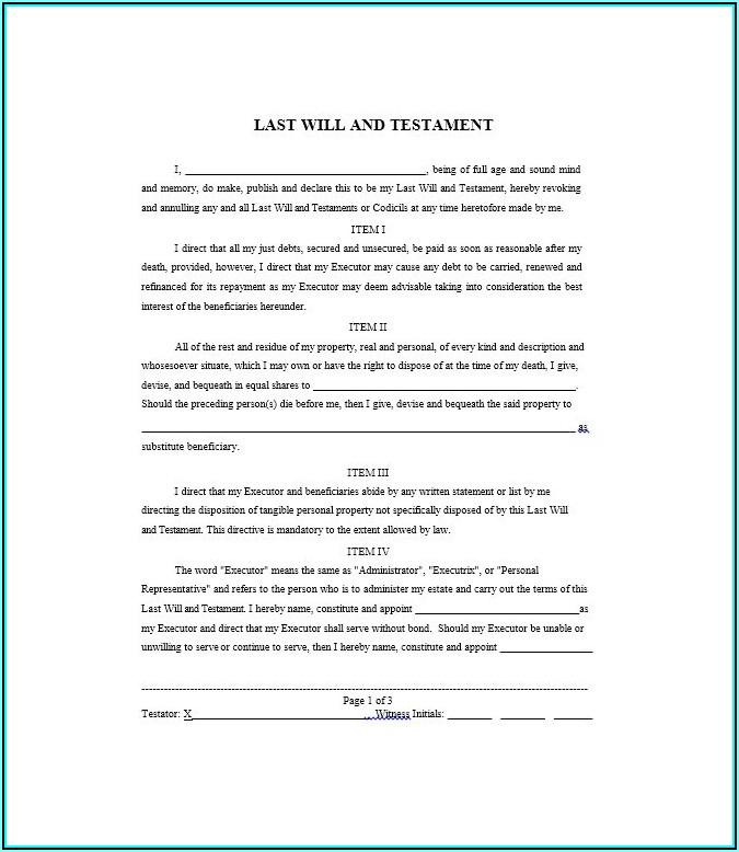 Free Will And Testament Template Australia