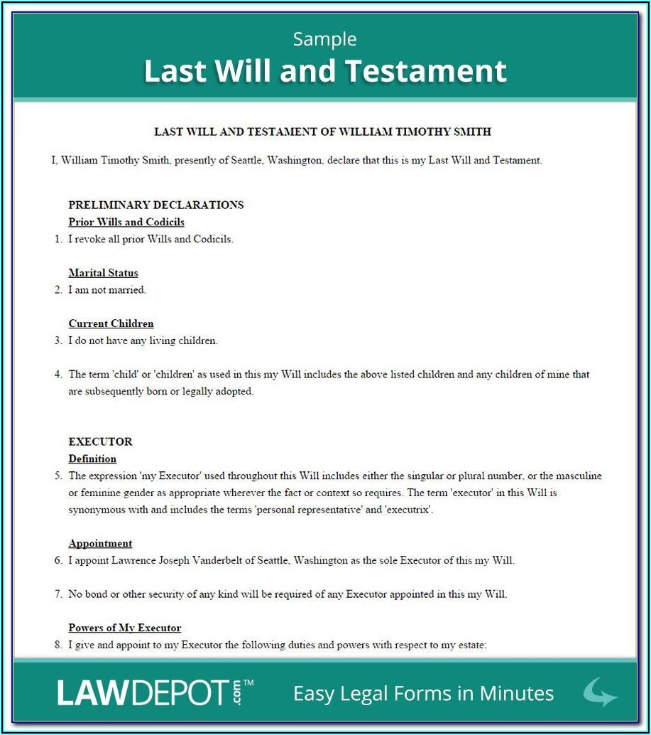 Free Will And Testament Template Canada