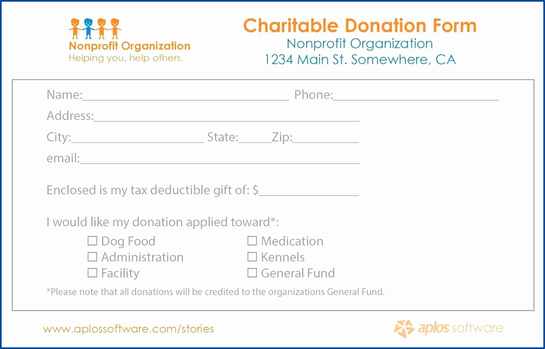 Fundraising Pledge Form Sample