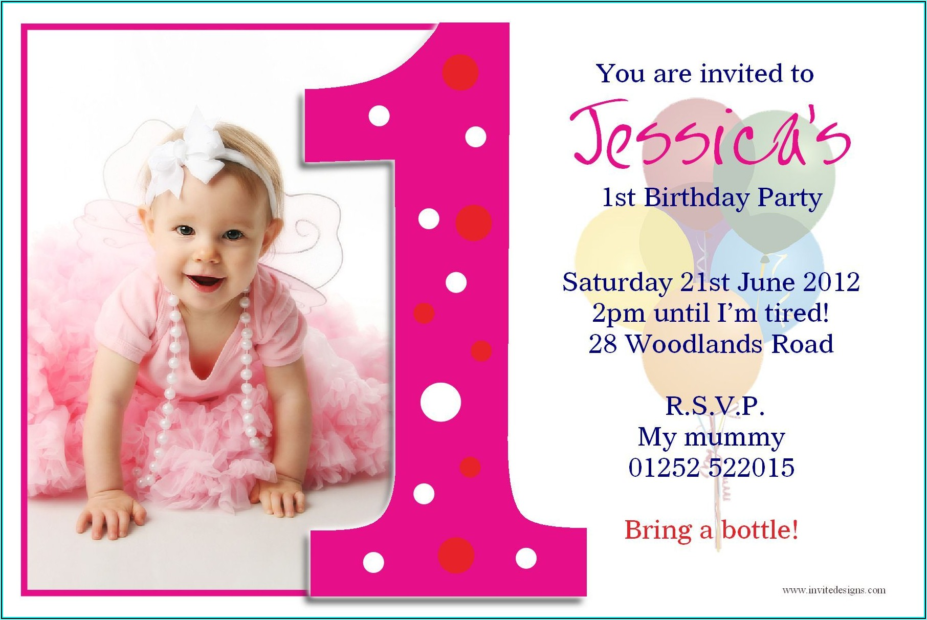 Girl First Birthday Invitation Templates