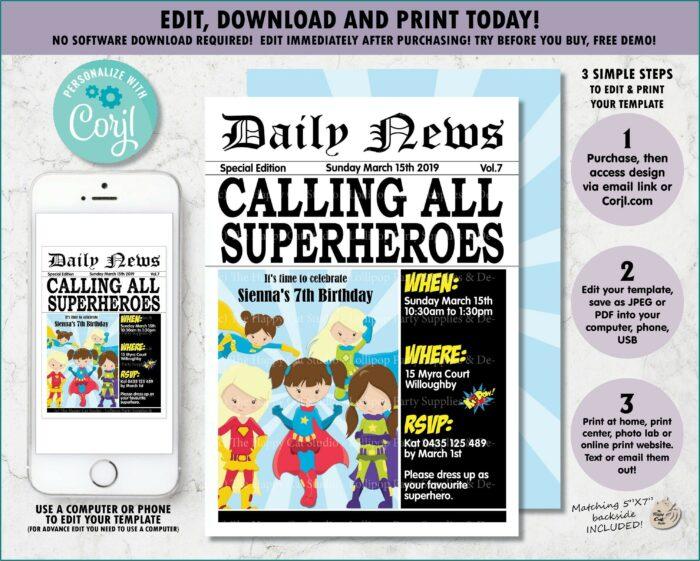 Girl Superhero Birthday Invitation Template