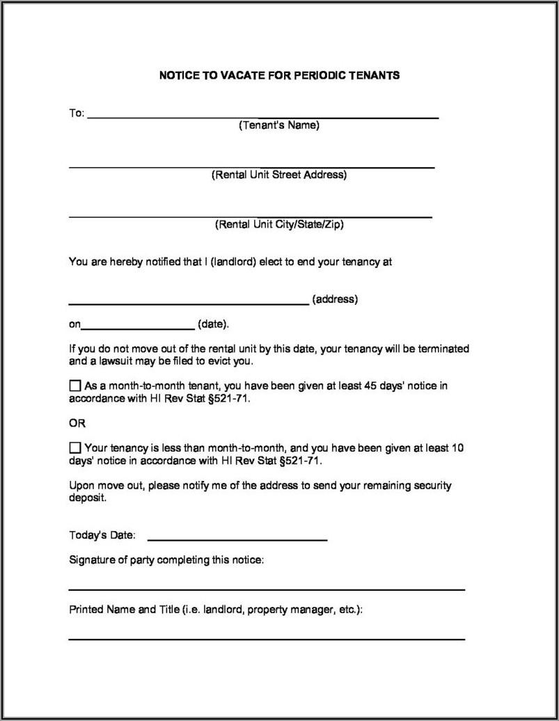 Hawaii Eviction Notice Form