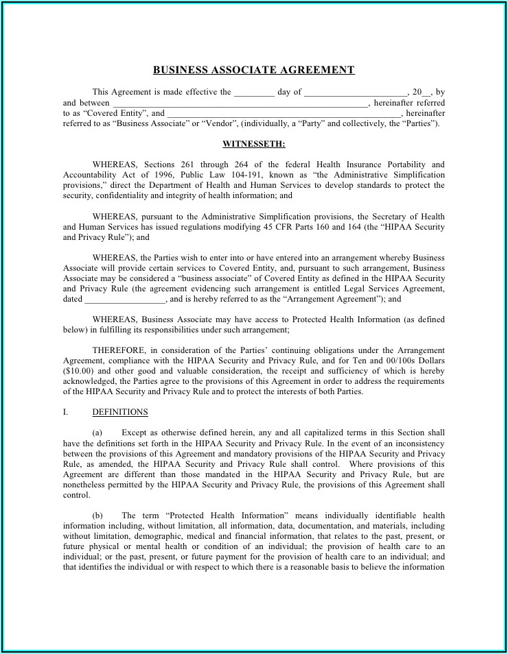 Hipaa Policy Template For Business Associates