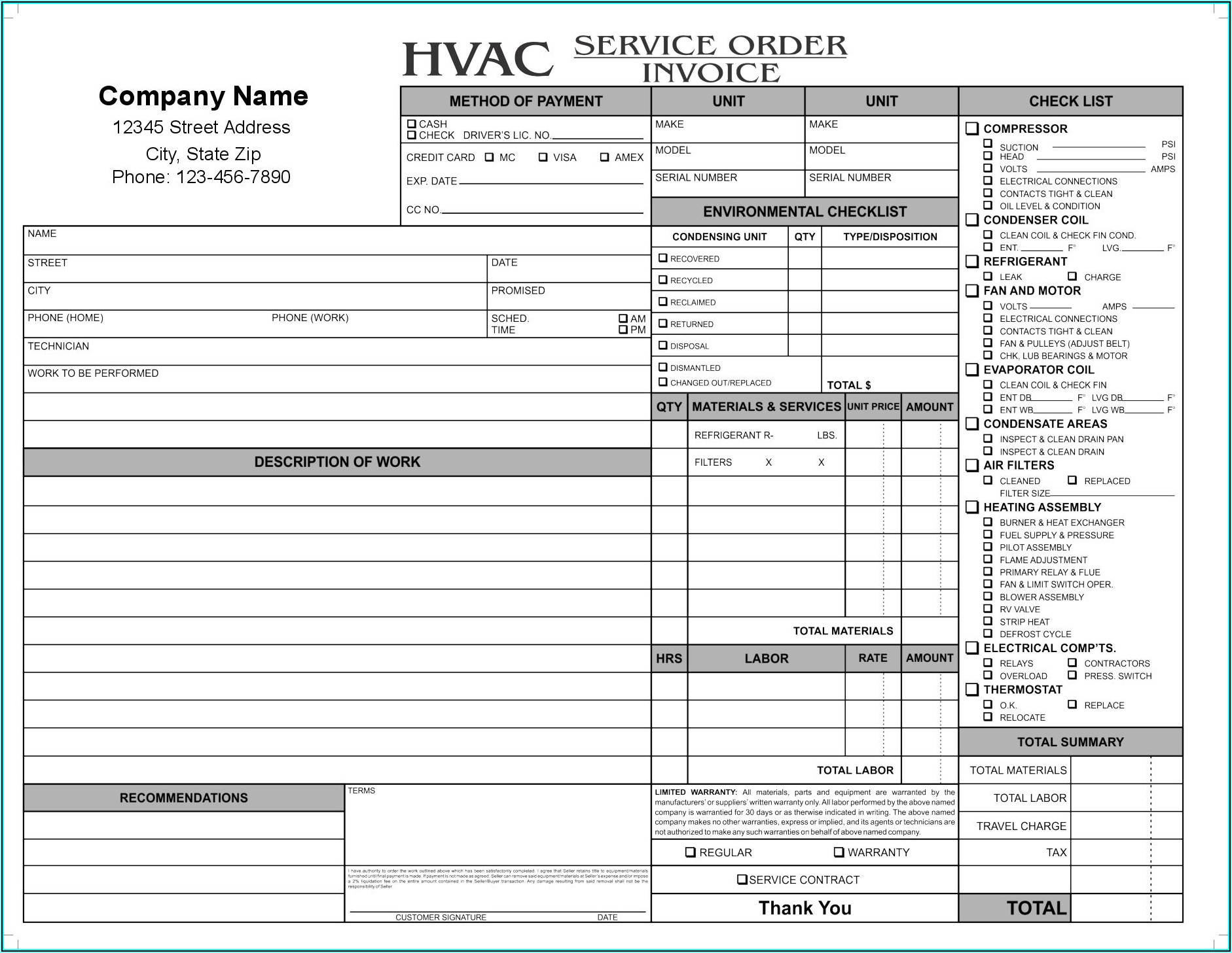 Hvac Work Order Free Printable Hvac Invoice Template