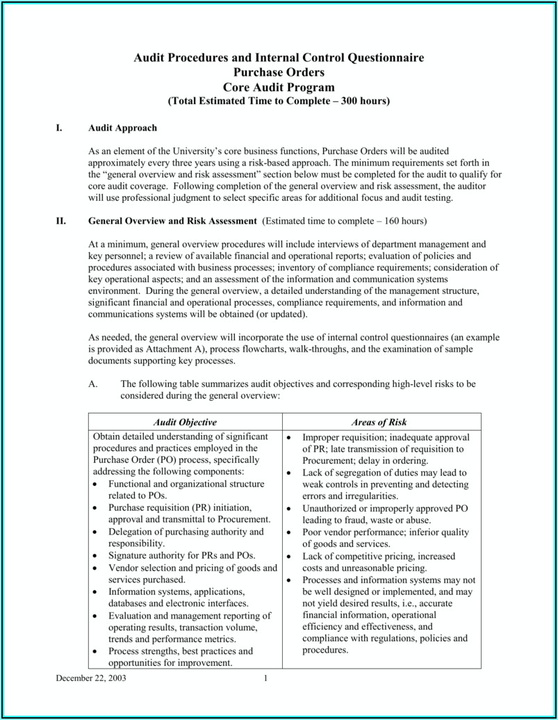 Internal Audit Risk Assessment Questionnaire Template