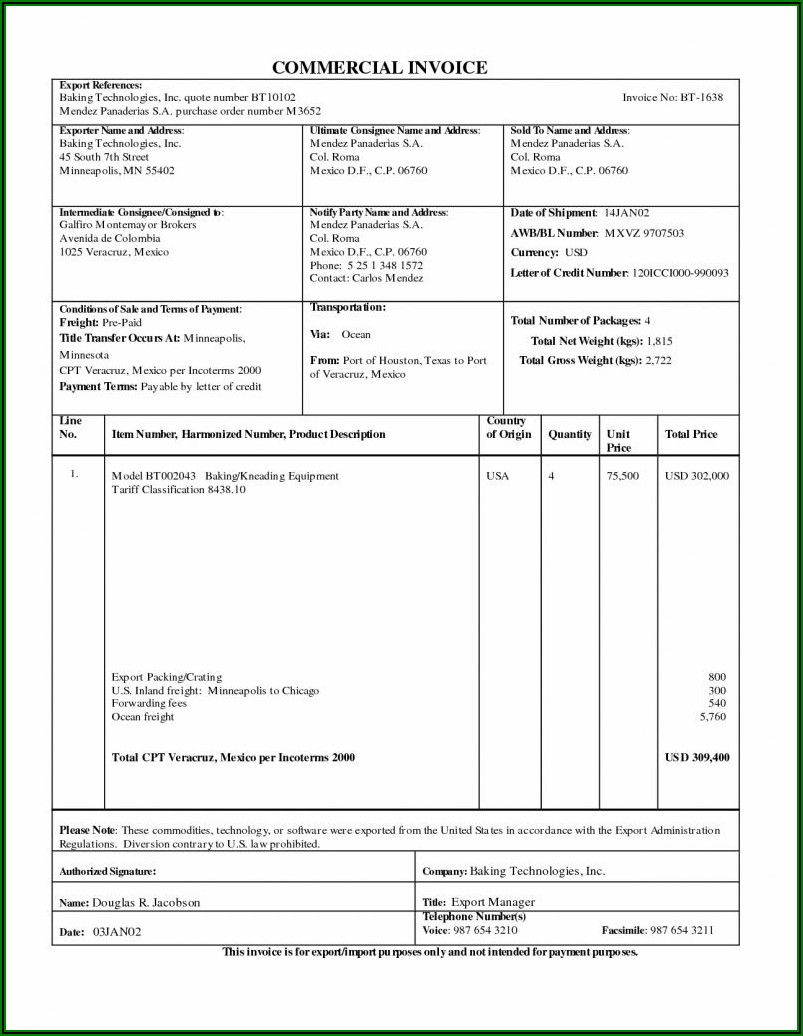 International Commercial Invoice Template Excel