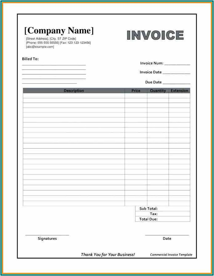 Invoice Template In Excel Format