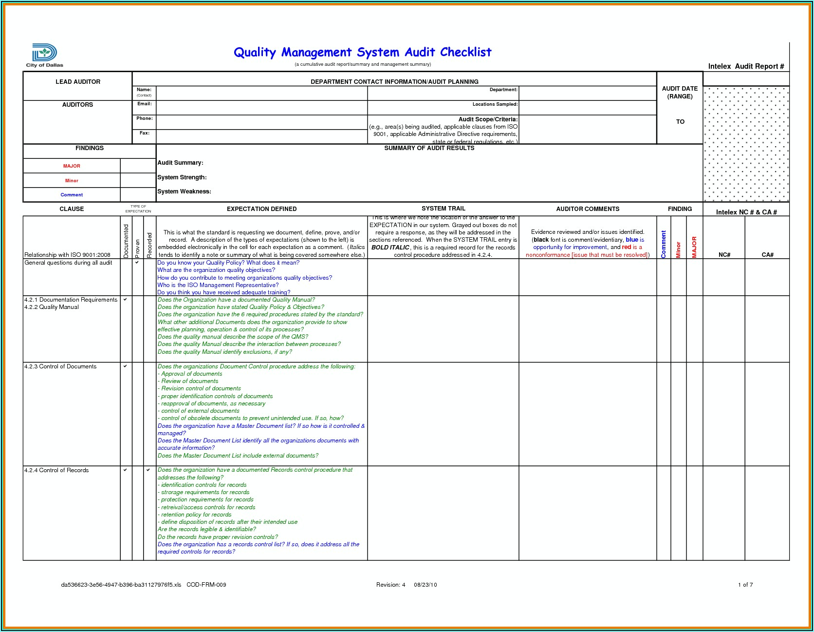 Iso Internal Audit Risk Assessment Template