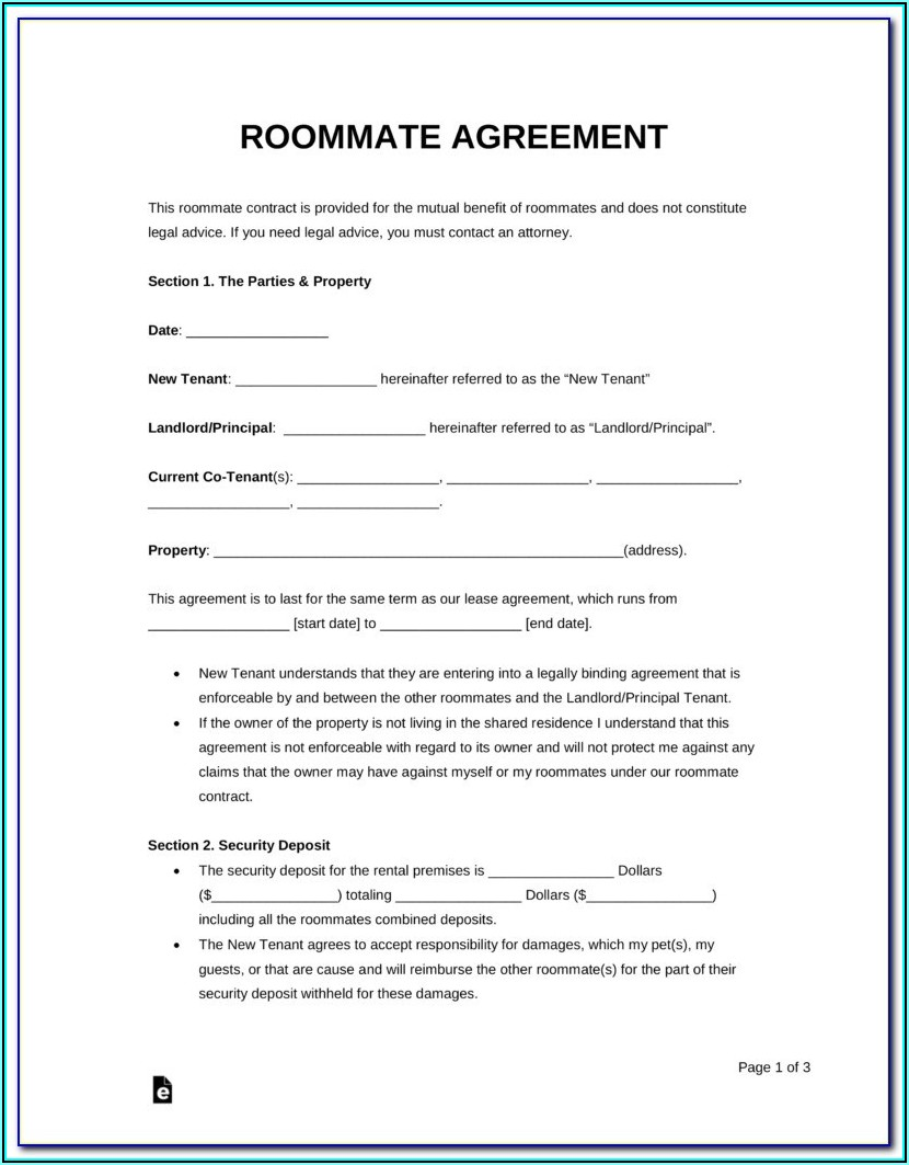 Lease Agreement Template For Renting A Room