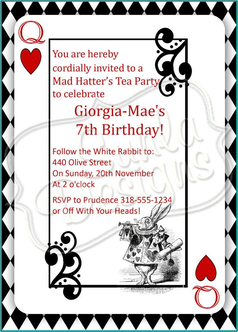 Mad Hatter Tea Party Invite Template