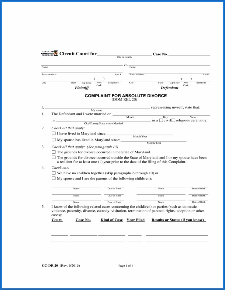 Maryland Divorce Forms Download