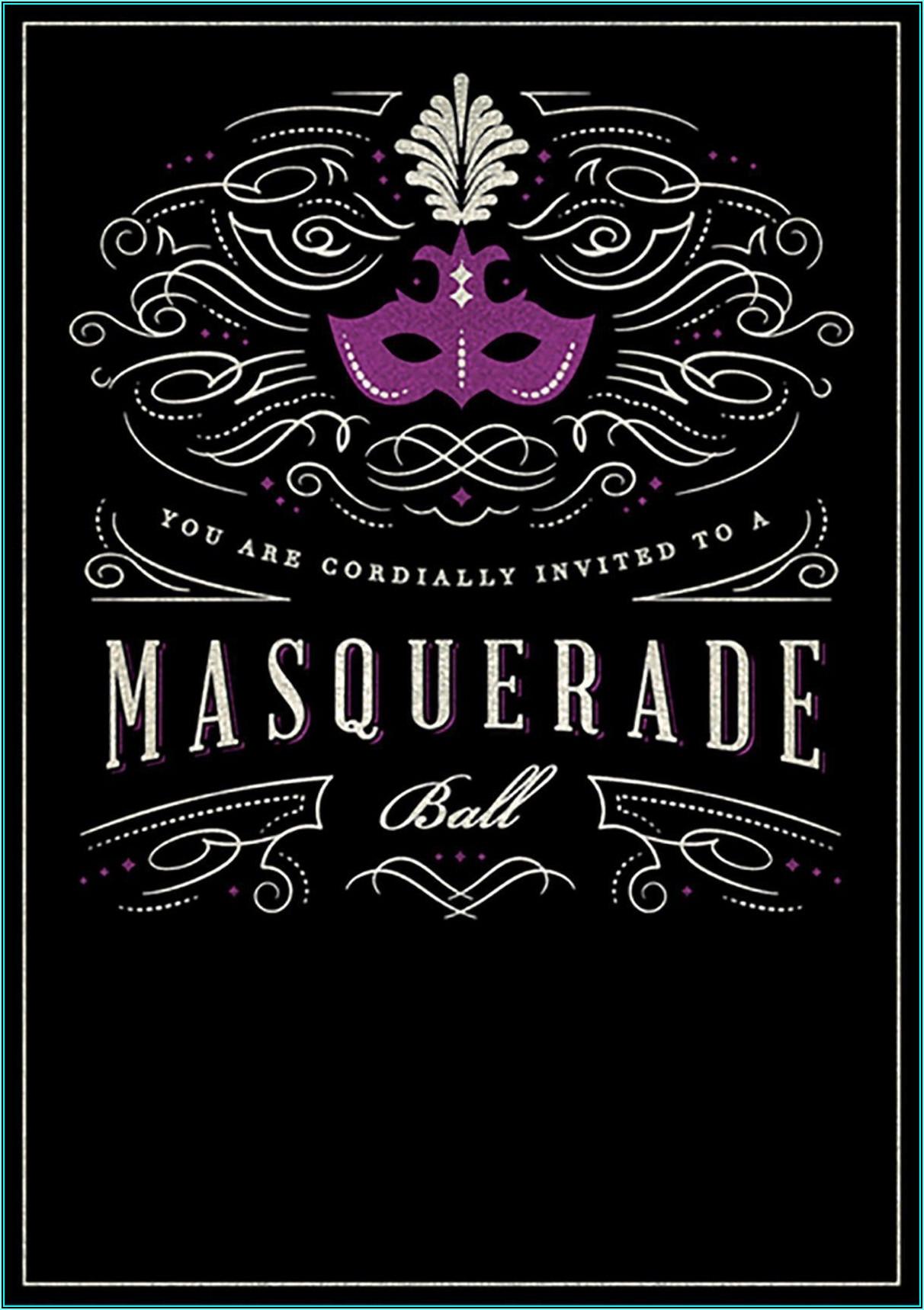 Masquerade Birthday Invitations Templates
