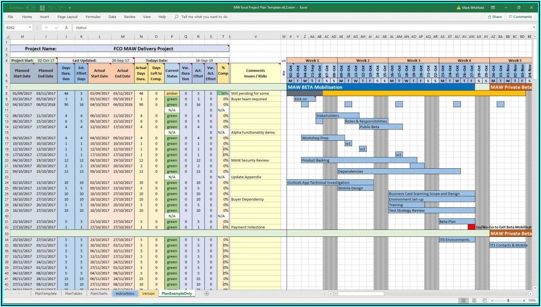 Microsoft Excel Project Schedule Template
