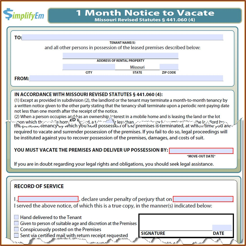 Mo Eviction Notice Form Free