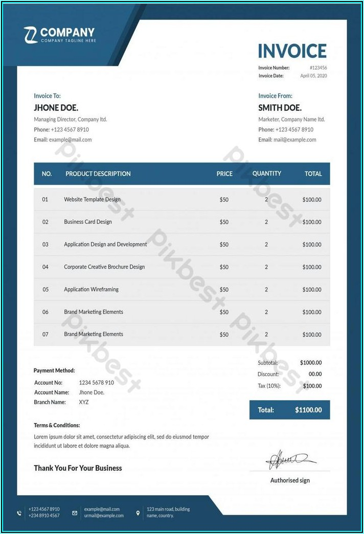 Modern Invoice Template Word