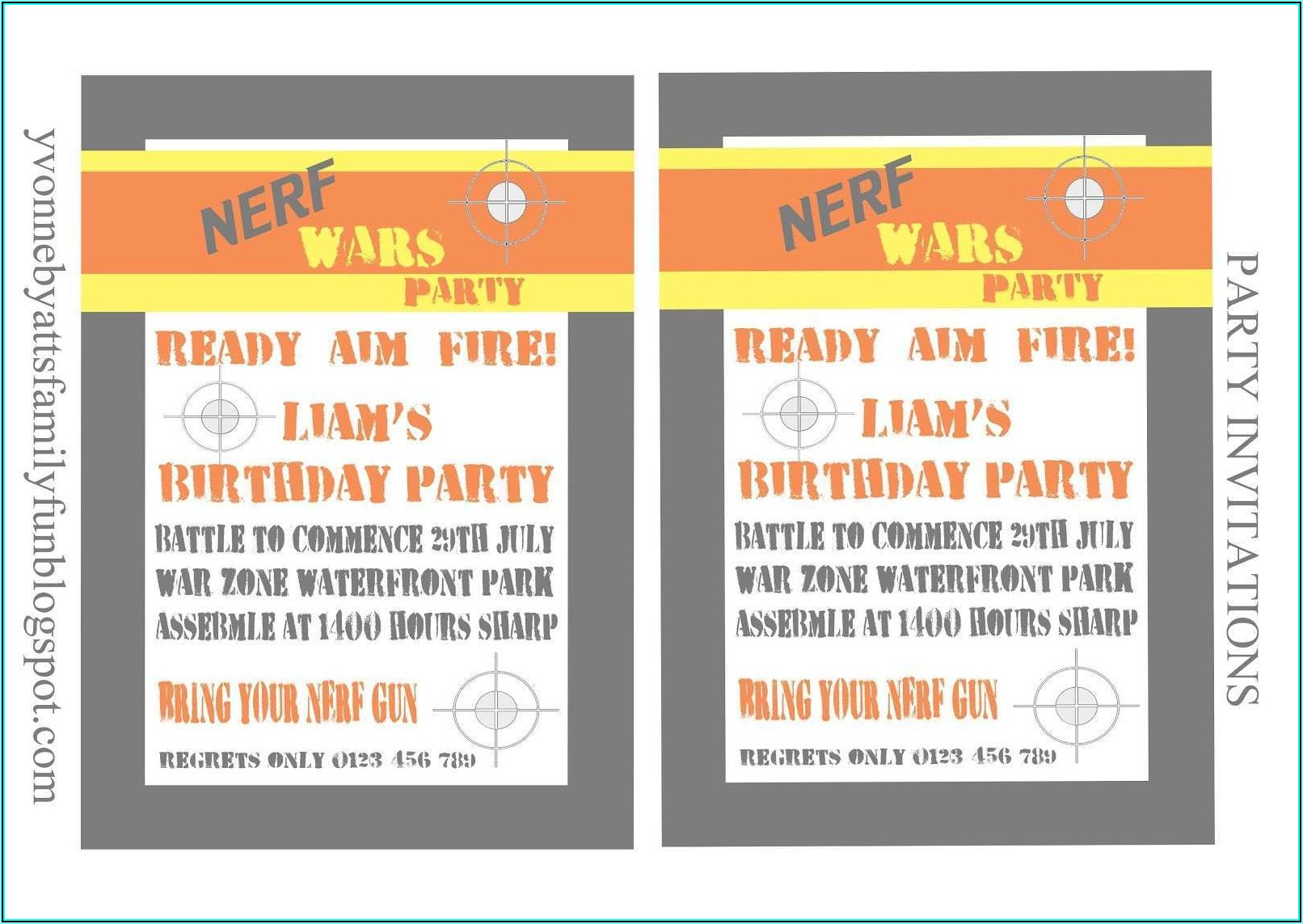 Nerf Birthday Party Invitation Template