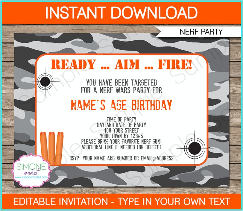 Nerf War Party Invitation Template