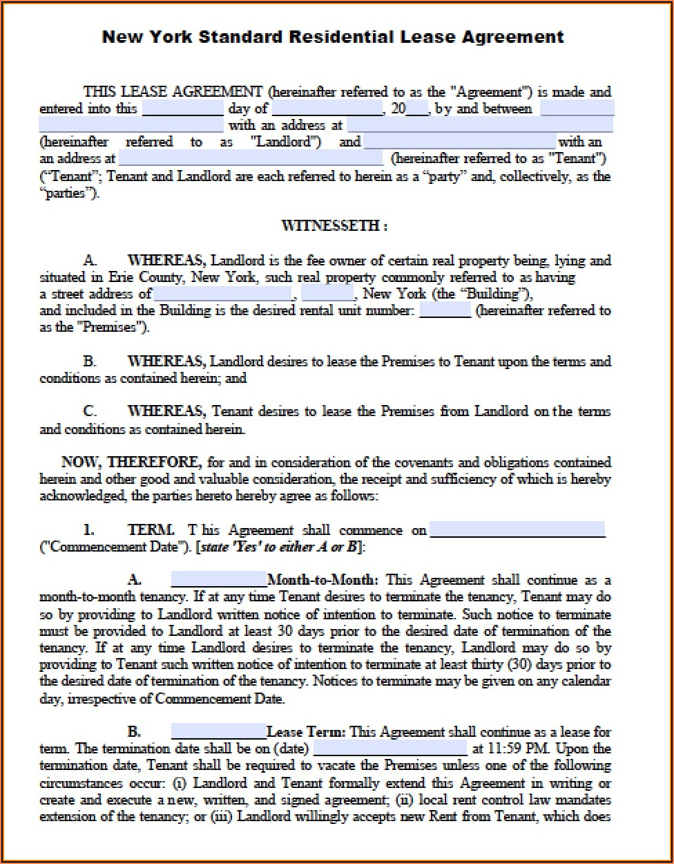 New York Apartment Lease Agreement Form