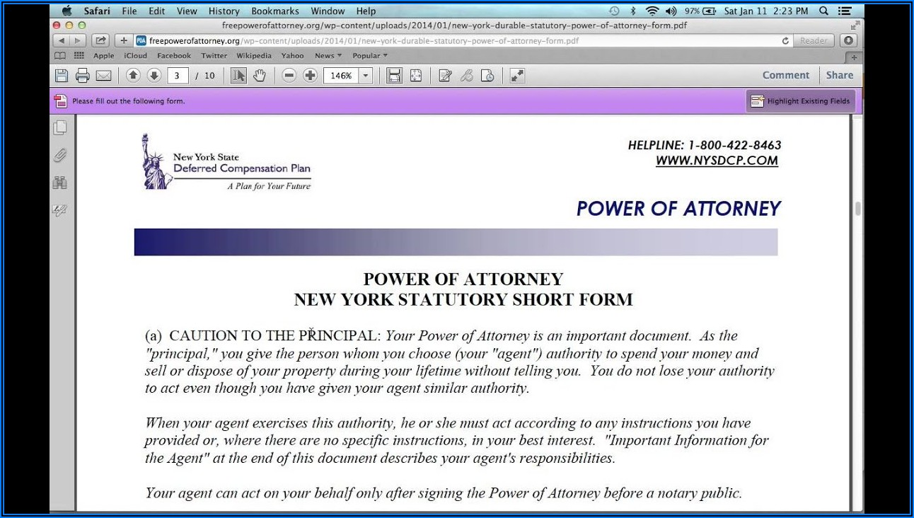 Nys Power Of Attorney Form 2019 Pdf