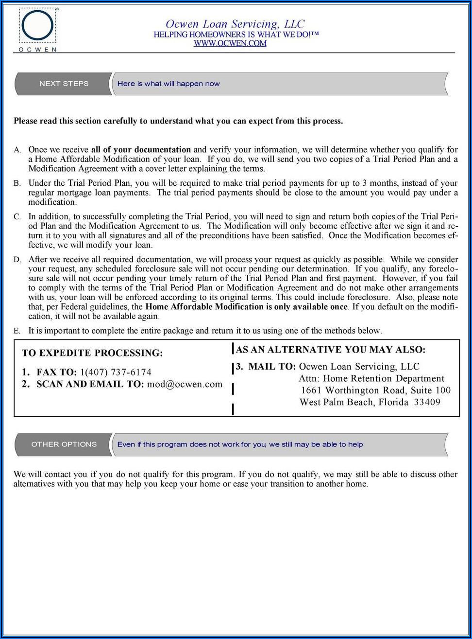 Ocwen Loan Modification Forms Pdf