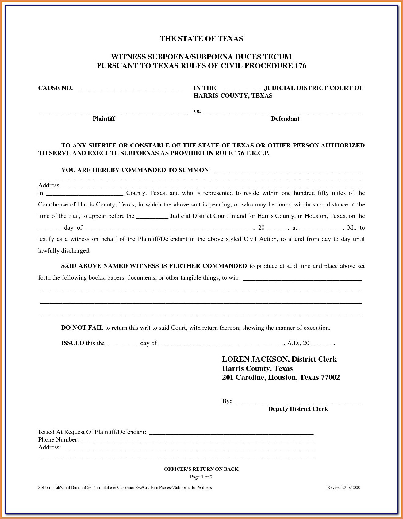 Petition Of Divorce Form Harris County Texas
