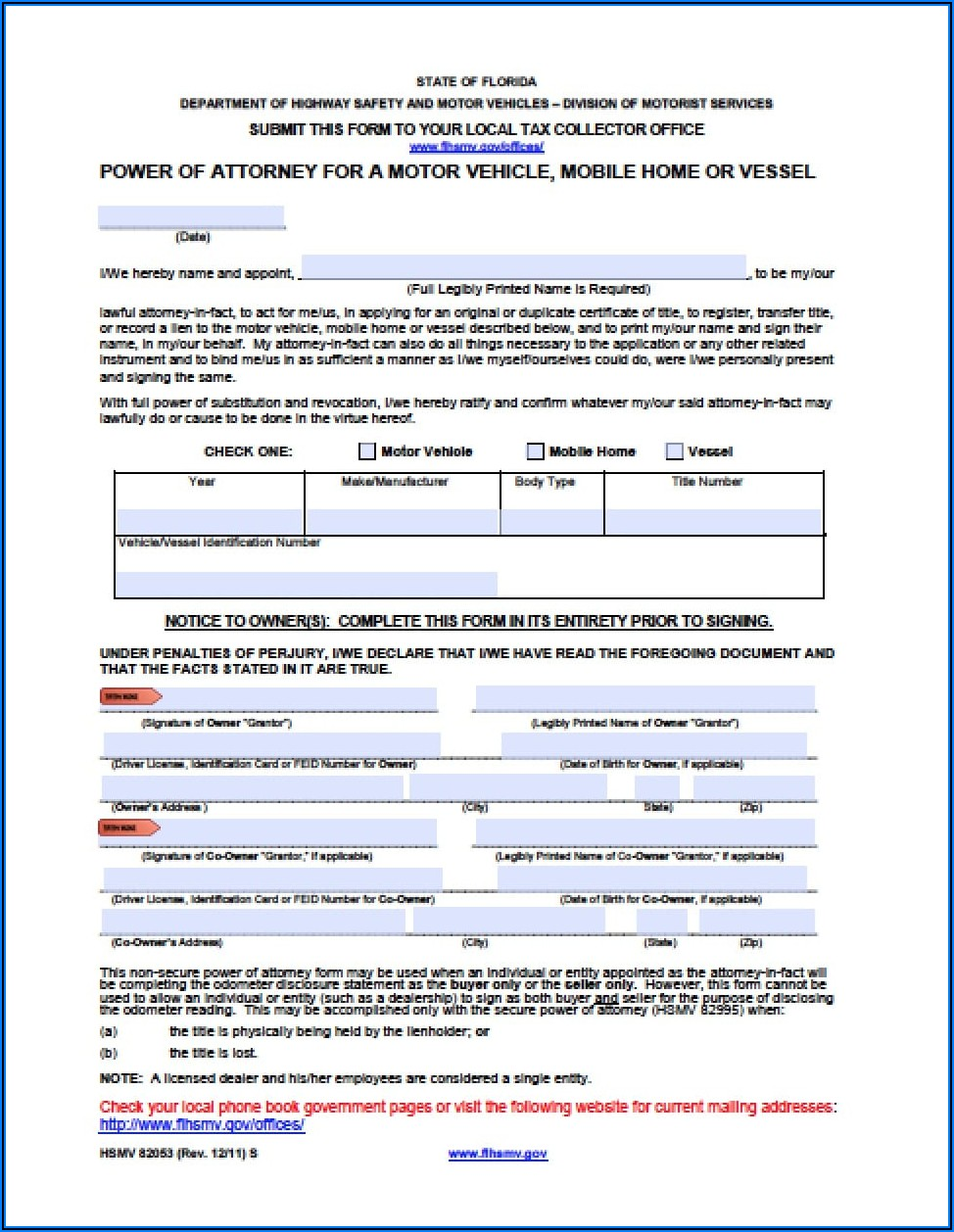 Power Of Attorney Form Florida Real Estate