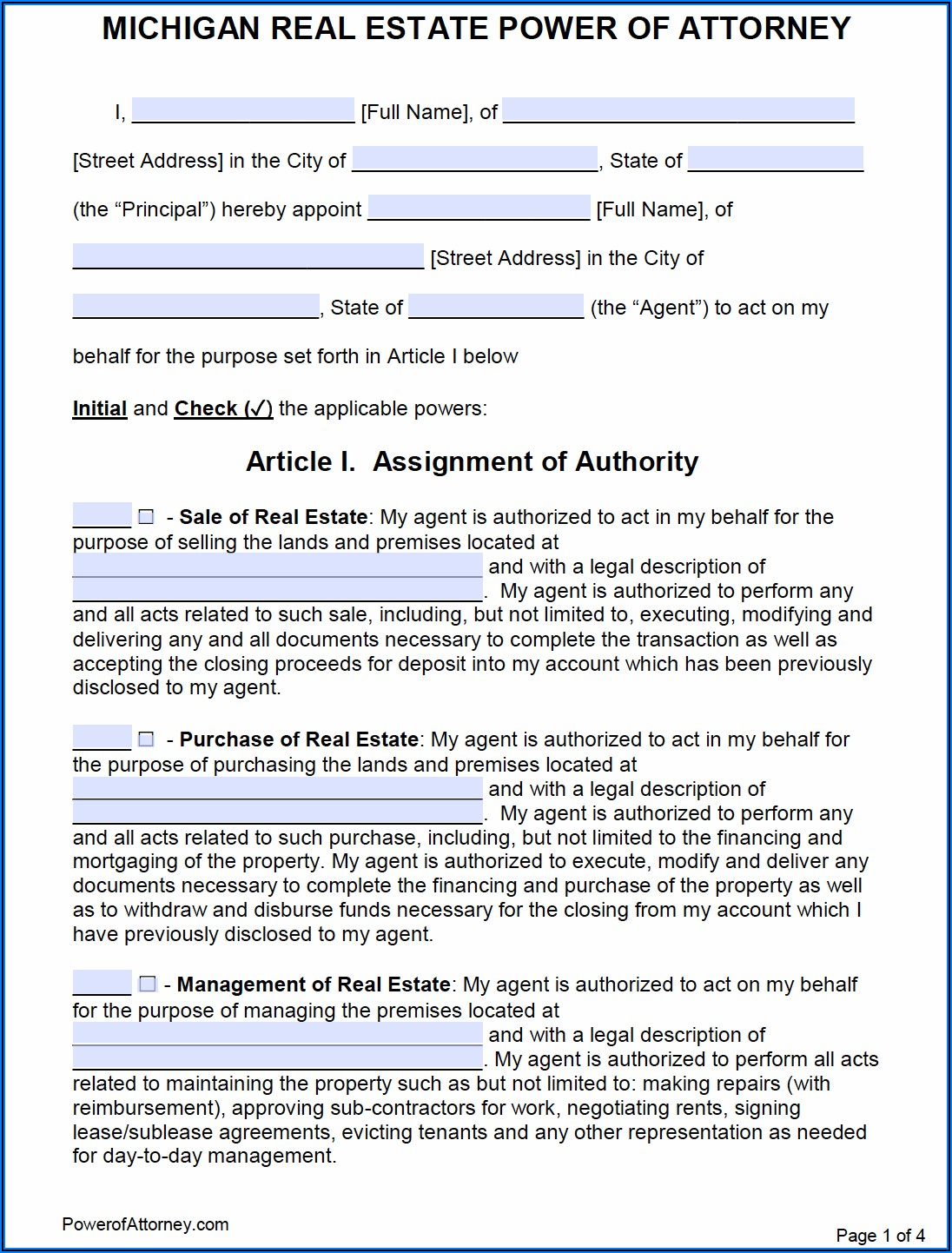Power Of Attorney Form Michigan Real Estate