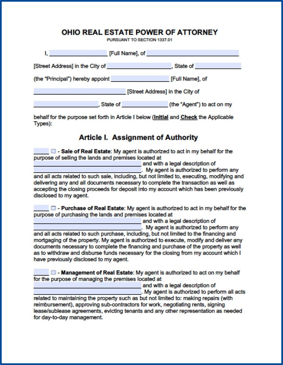 Power Of Attorney Form Real Estate
