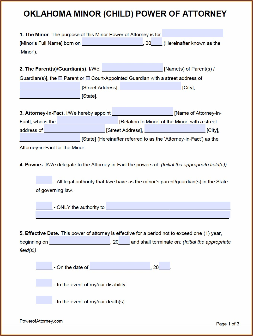 Printable Durable Power Of Attorney Form Oklahoma