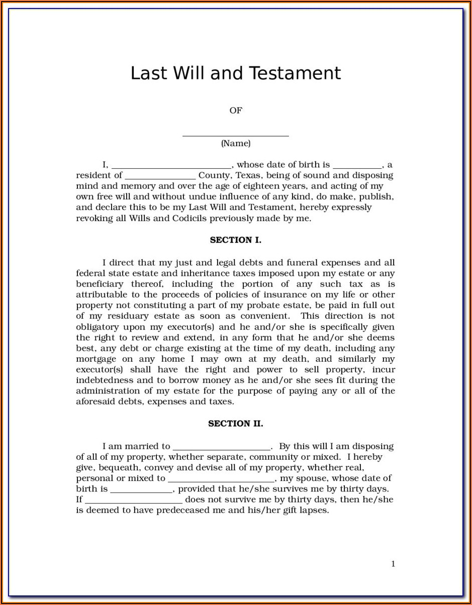 Printable Last Will And Testament Forms