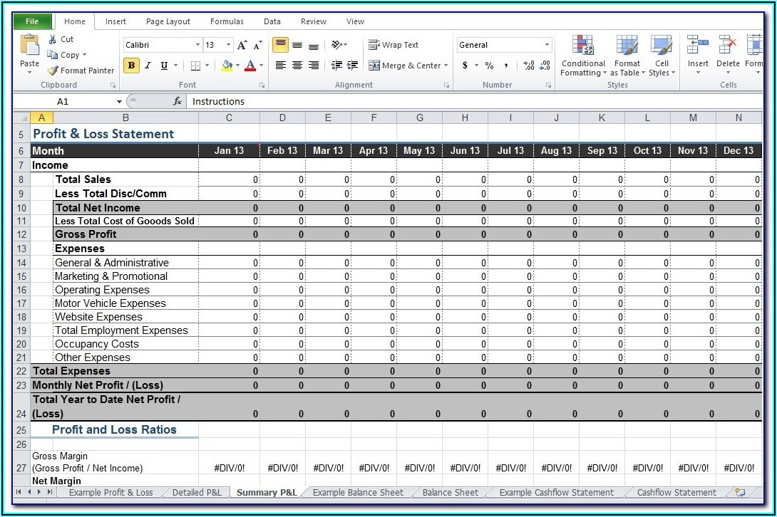 Profit And Loss Account Format For Restaurant