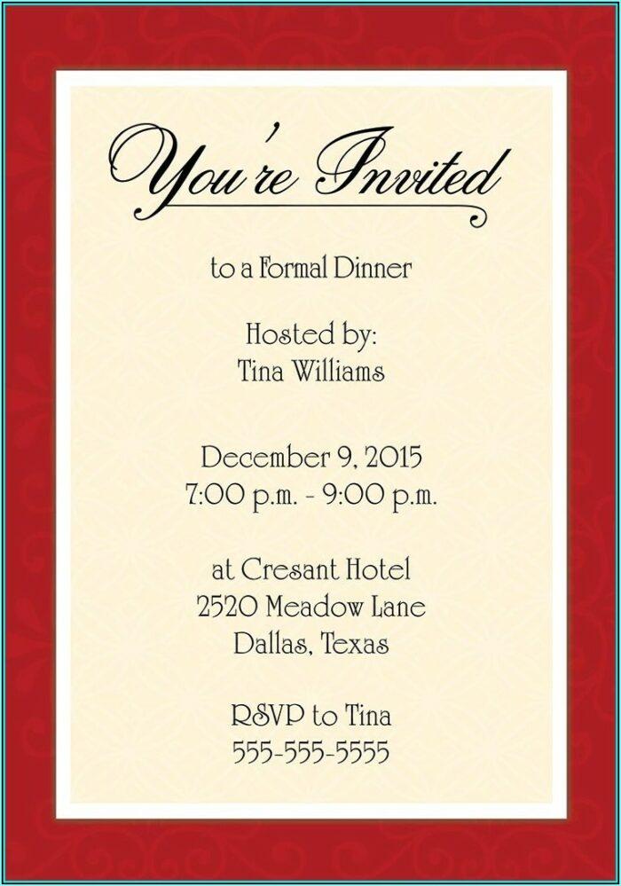 Progressive Dinner Invitation Template