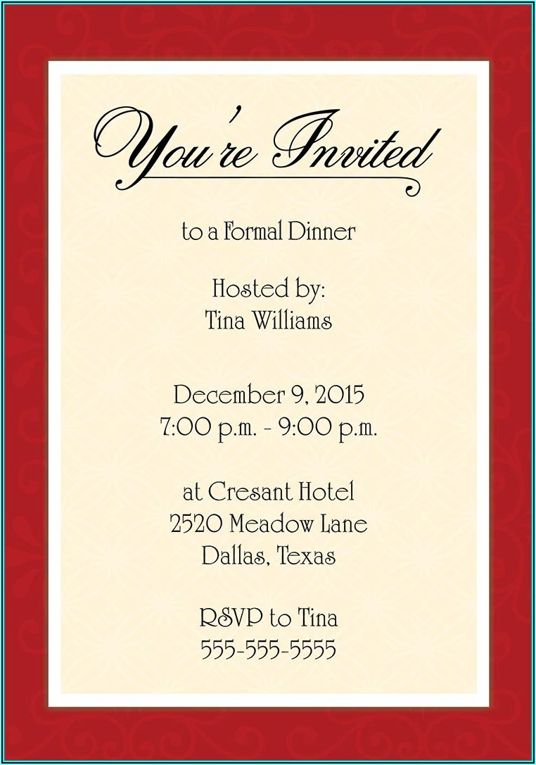 Progressive Dinner Invitation Template