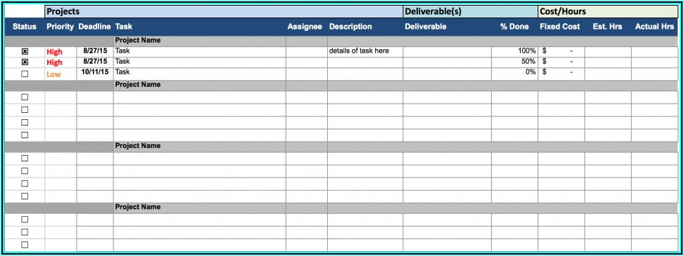 Project Tracking Template Excel Free Download