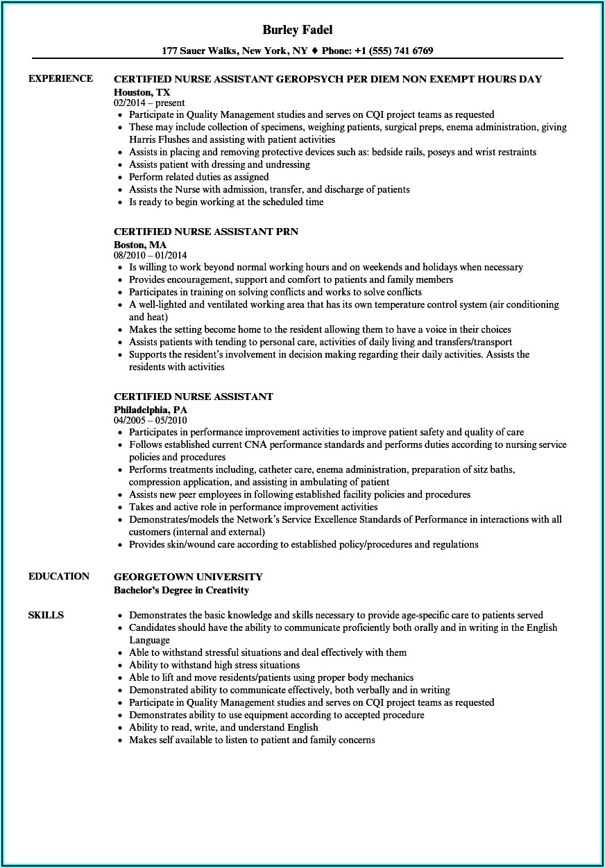 Resume Example For Nursing Assistant