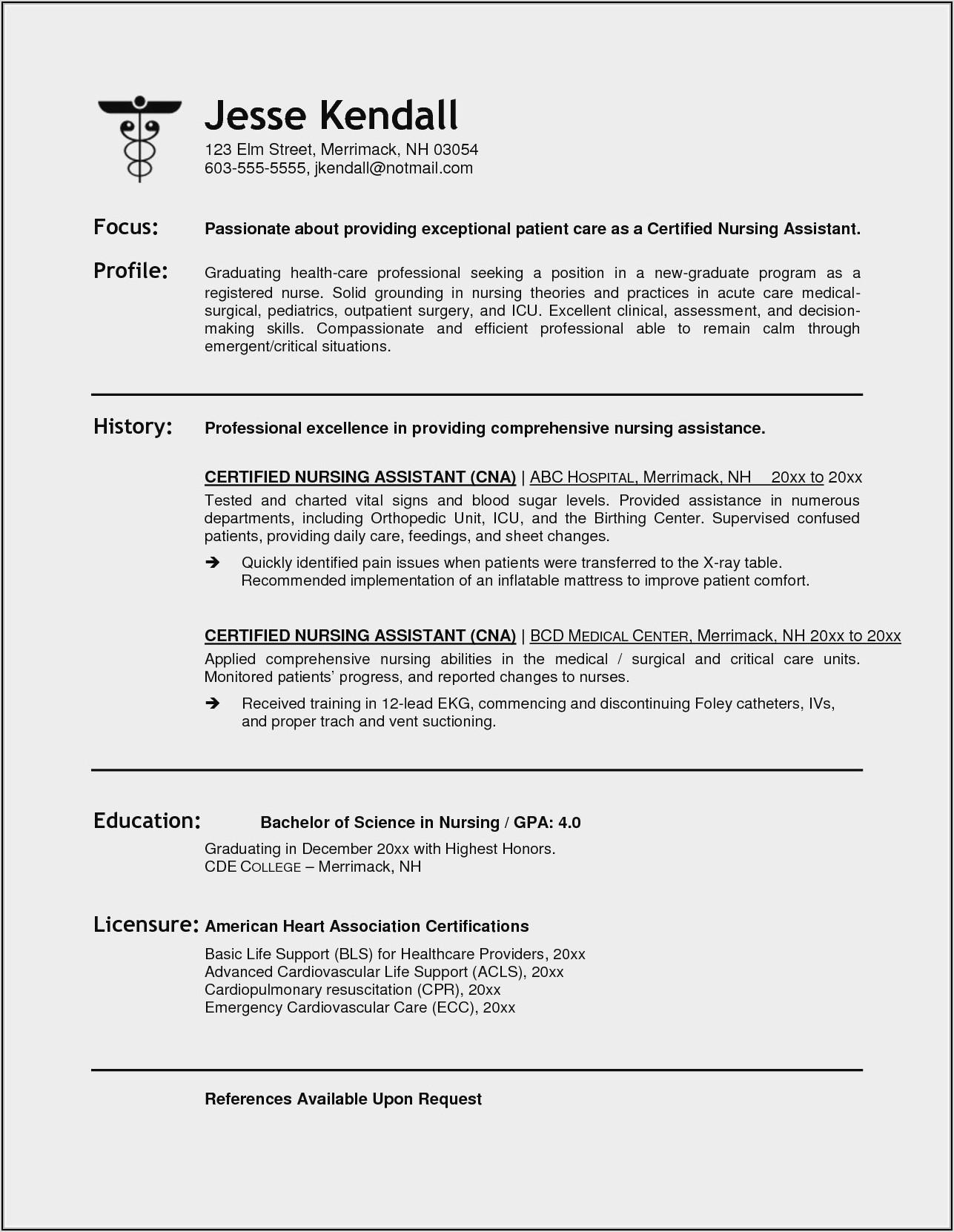 Resume Format For Nursing Assistant