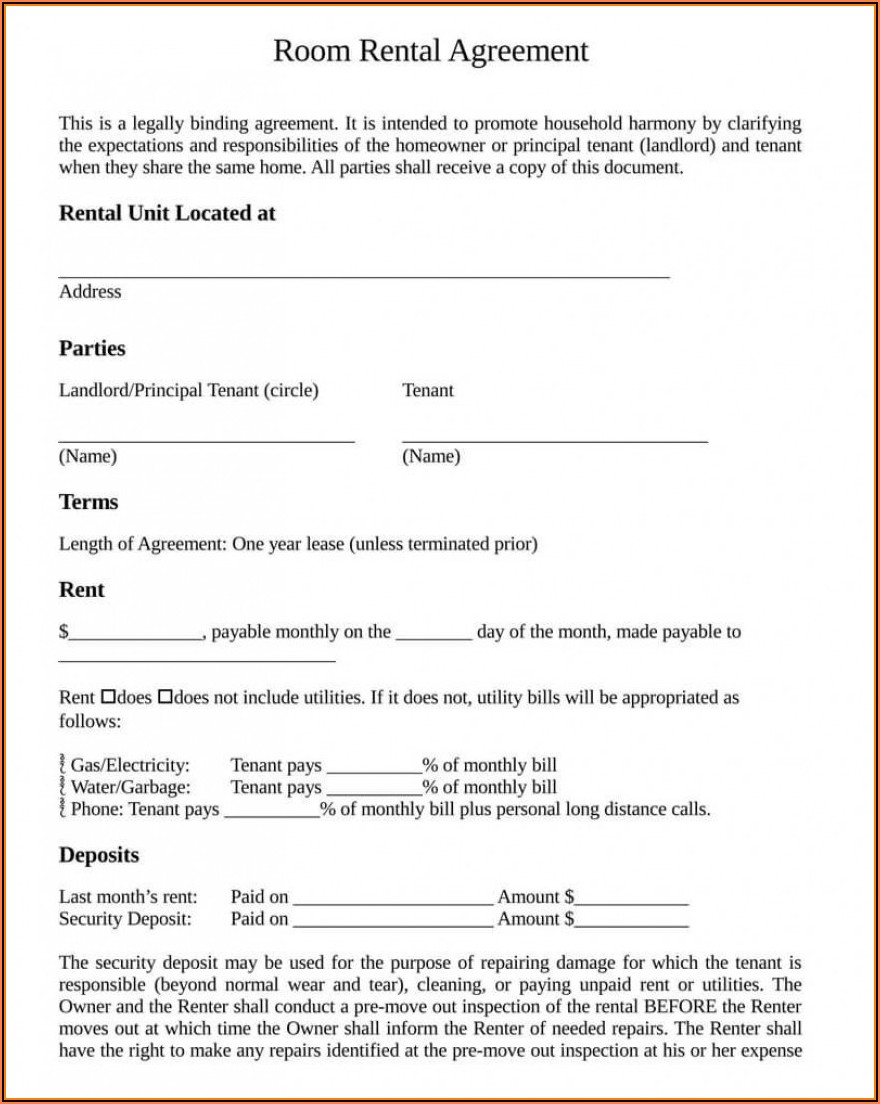 Room Rent Agreement Format