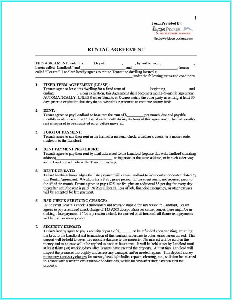 Room Rent Lease Template